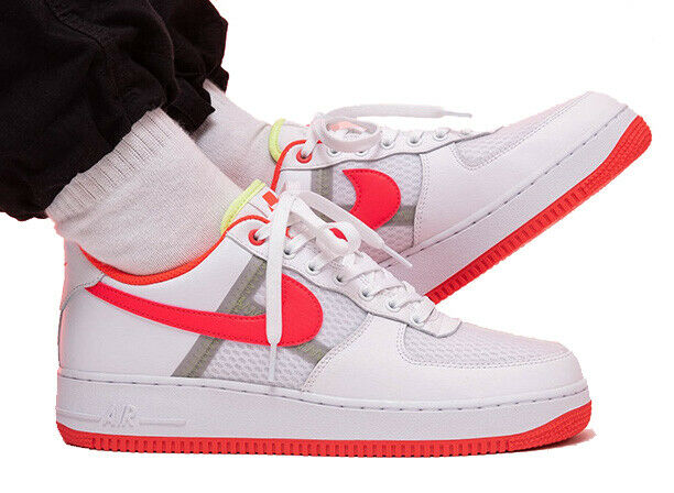 New NIKE Air Force 1 Low 07 leather mesh Mens sneakers white crimson sz 10 13