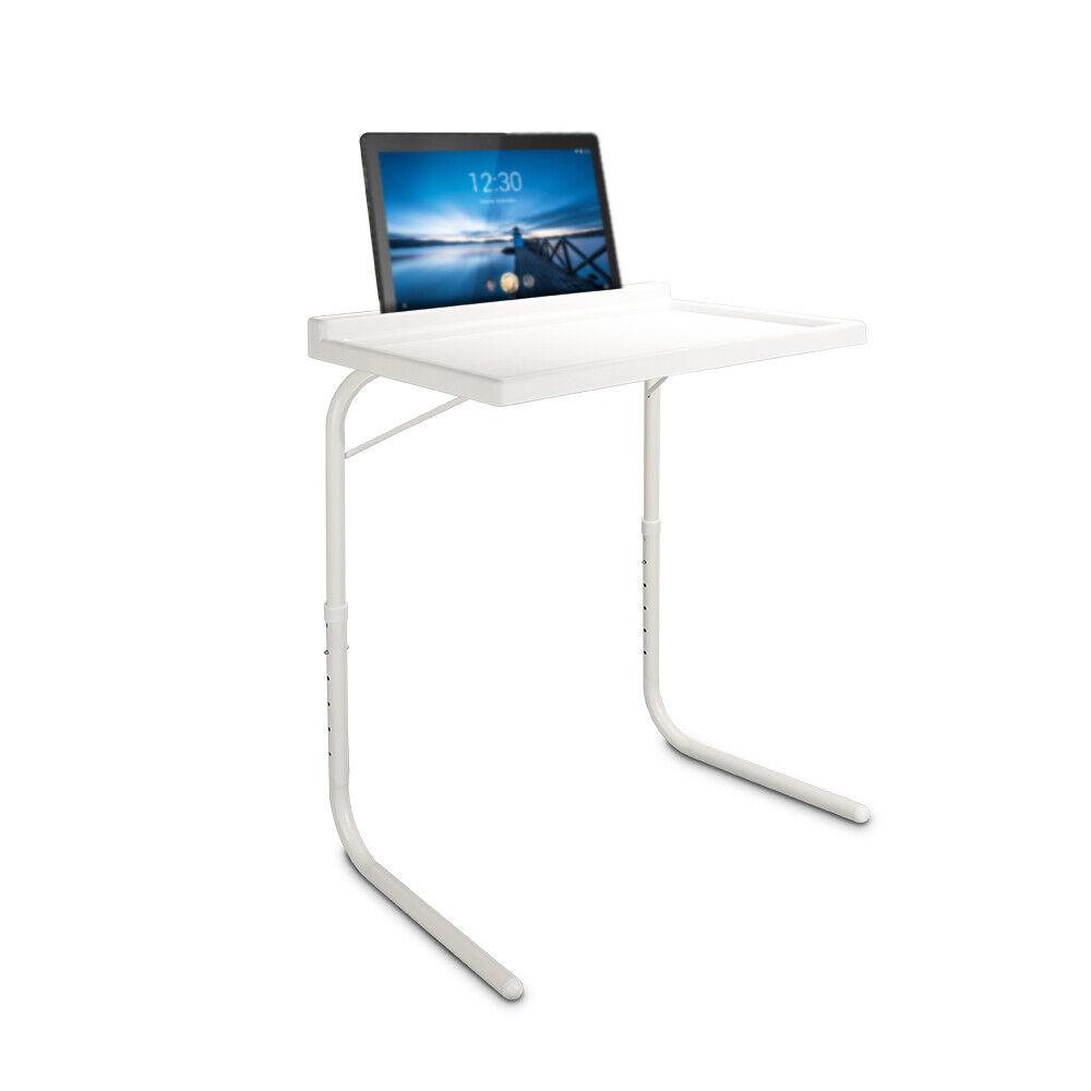 Mesa auxiliar plegable ajustable regulable en altura y con soporte para tablets