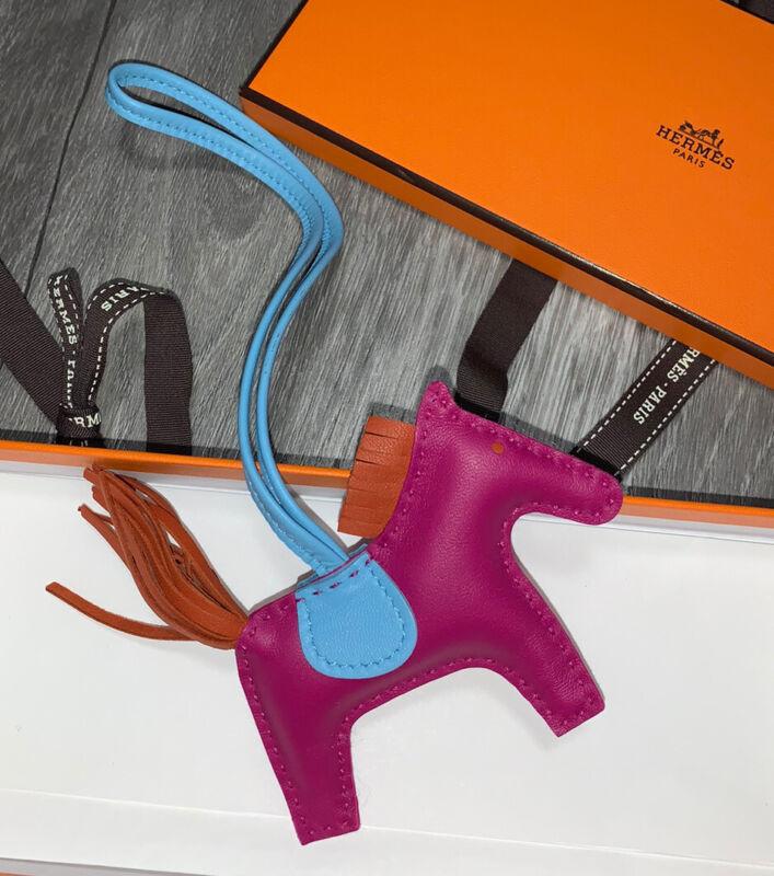 Nib Hermes Rodeo Horse Charm Milo Lambskin Birkin Kelly Lindy Bag Pm Blue Pink