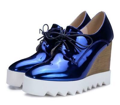 Ths01 Women/'s Hidden Platform Wedge Heels High Top Lace Up Sneaker Casual Shoes