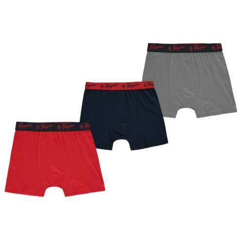 Penguin Kids Boys 3 Pack Boxers Junior Underwear Boxer Cotton Print Elasticated