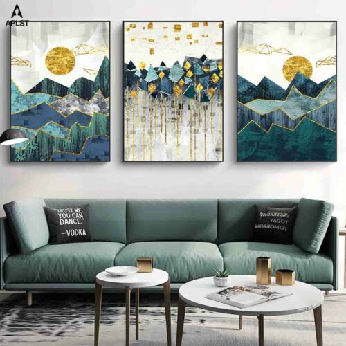 Geometric Forest Canvas Prints /& Posters Landscape Mountain Wall Art Painting