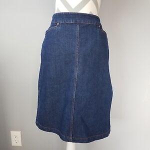 264784aafd Hennes Denim Jean Skirt Sz 44 Dark Blue Back Zip Slit A Line Fitted ...