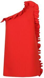 Rouge Robe s 42 Nouveau 36 It Msgm Gr Volants Asymétrique Italy 65675 D E1fqg