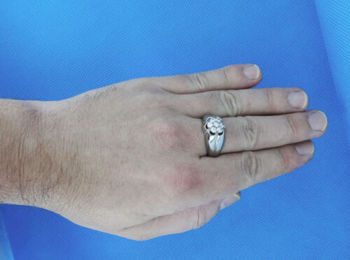 Mens Seven 0.16ct Clear CZ Stones Silver Stainless Steel Ring