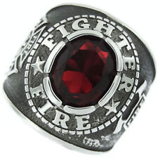 FIRE DEPARTMENT RED STONE SILVER MALTESE SS RING SIZE 7 8 9 10 11 12 13 14