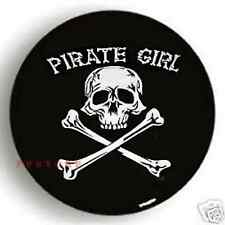 SPARE TIRE COVER 29''-31'' Pirate Girl Skull white on passport black dw498623p