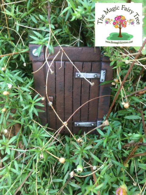 Square Hobbit Fairy or Gnome Door - handpainted resin