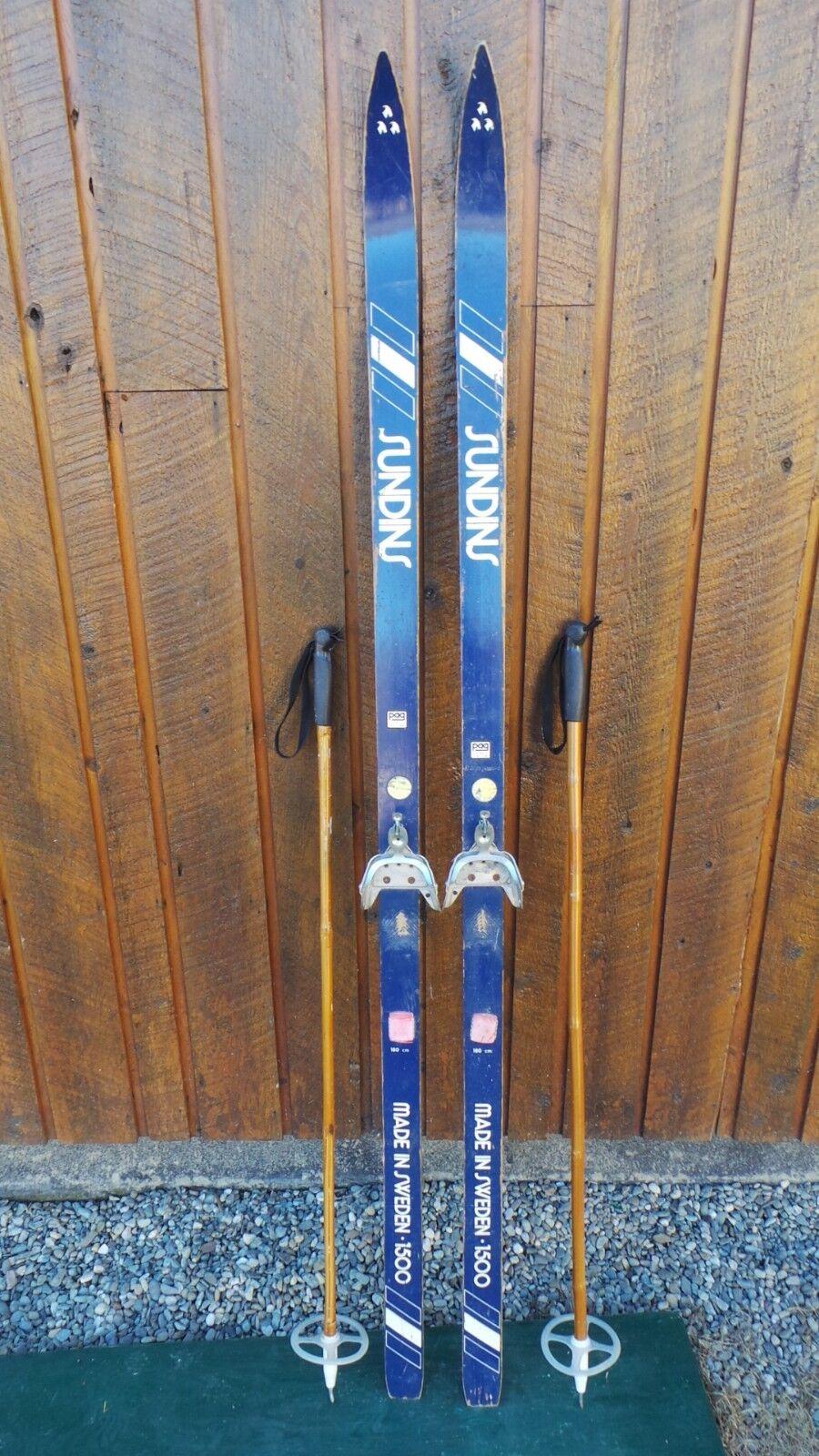 Vintage Wooden 70  Long Skis blueE  Finish Signed SUNDINS + Poles
