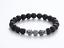 "thumbnail 3 - Black Lava Stone & Healing Gray Lace Jasper Silver Beaded Stretch Bracelet 7.5"""