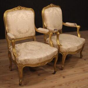 Coppia-di-poltrone-mobili-sedie-sedute-in-legno-dorato-stile-antico-Luigi-XV
