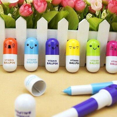 """Vitamin C"" 6 Pcs Mini Pocket Pens Blue Ink Ball Point Pen Set School Stationery"
