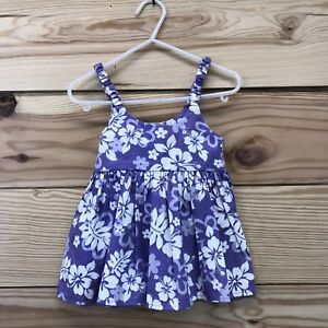 6ffc24615 Ky's Hawaiian Dress 6 Months Purple White Hibiscus Baby Girl Made in ...
