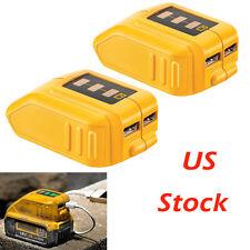 2 x DCB090 091 DEWALT LITHIUM SLIDE BATTERY USB CONVERTER ADAPTER POWER CHARGER