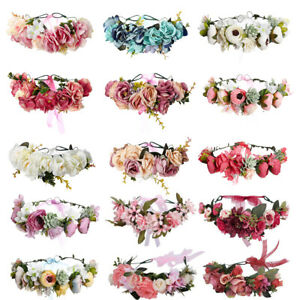 Adjustable-Women-039-s-Flower-Crown-Headband-Hairband-Hair-Wreath-Garland-Wedding