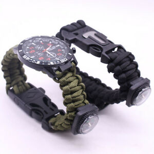Outdoor-Survival-Watch-Bracelet-Paracord-Compass-Flint-Whistle-MultifunctionTool