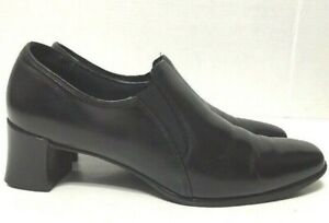 Munro-Loafer-Heels-Black-Leather-w-Elastic-Bands-Womens-M280781-Size-9