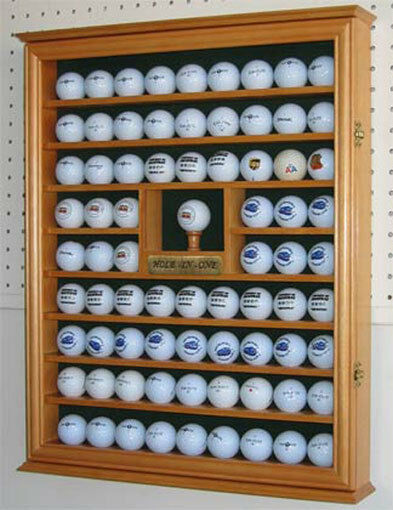Golf Ball Display Case Wall Cabinet With Hole In One Plate Oak Finish  Gb07 Oa | EBay