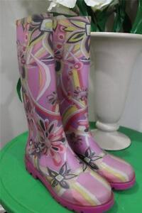 Emilio-Pucci-women-039-s-pink-floral-rain-boots-size-35-US-5-SNOW100