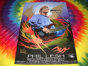 PHIL-LESH-amp-FRIEND-FURTHUR-STANLEY-MOUSE-SIGNED-CONCERT-POSTER-60TH-BDAY-RARE