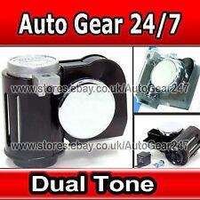 Car Van Nautilus Style Black/Chrome Dual Tone 12v Compact Ring Twin Air Horn