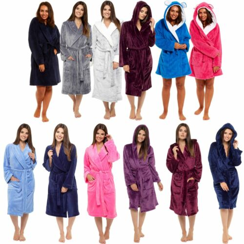 Ladies Luxurious Soft Dressing Gown Hooded Plain Fluffy Snuggle Fleece Warm Robe