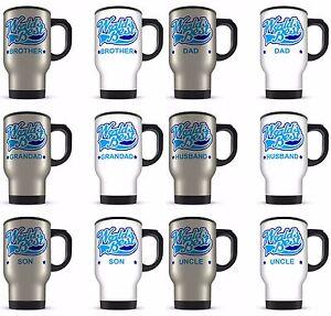 14oz Worlds Best Male Relation Novelty Gift Aluminium Travel Mug - Blue