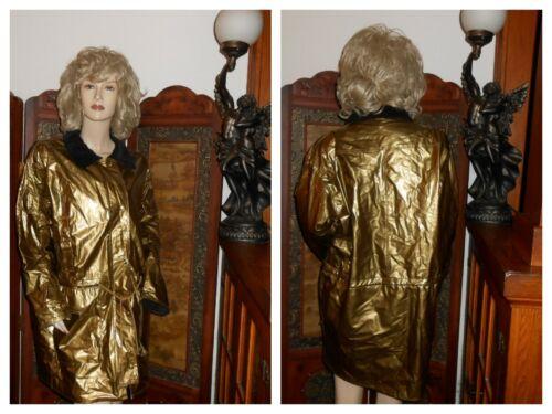 Vtg L Wippette Shiny Gold PVC Vinyl Raincoat PVC R