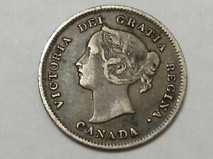 Better-Grade-1899-Silver-Canadian-5-Cent-Coin-Queen-Victoria-45