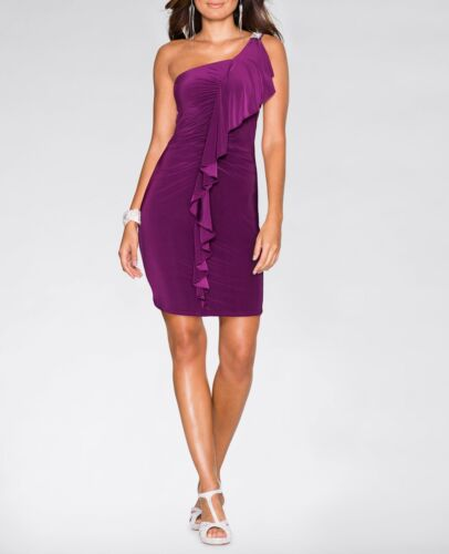 Extravagante Robe à Volants Violet Taille 40//42 q5353-968827