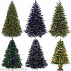 5FT,6FT,7FT Pre-Lit Premium Christmas Tree Pine Tips Stand Black/Green LED Tree