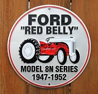 Ford Red Belly Model 8n Red Tractor Retro Vintage Die-cut Round Tin Sign, New, F on sale