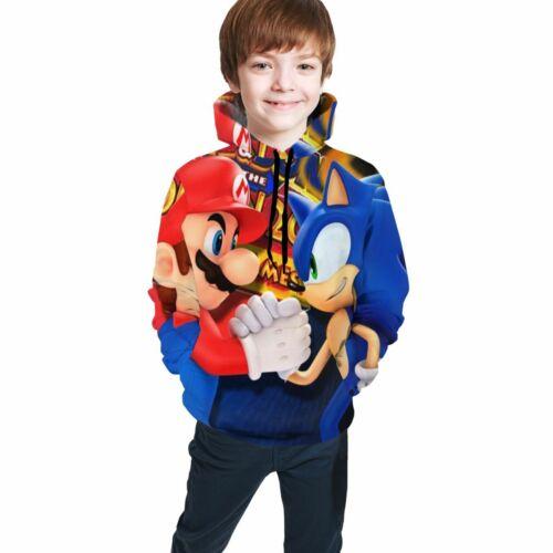 Mario /& Sonic Character Kids Sweatshirts Cute Cartoon Children Hoodie Pullover