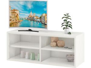 Details Zu Tv Bank Wand Hifi Rack Lowboard Schwebend Fernsehschrank 4 Fächer Holz Weiß