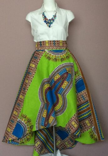 L,XL,XXL M Esty Ankara High low Flare Skirt With Two Pocket and a Belt X,S S
