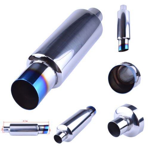 Stainless Steel Burnt Tips Muffler Grilled Blue Exhaust Muffler 2 inlet 3 Outlet