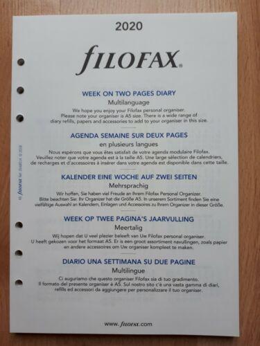OVP !!! filofax Kalendereinlage 2020 für A5 1 Woche auf 2 Seiten NEU