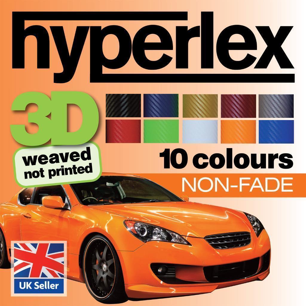FIBRA DI CARBONIO 3D AUTO Wrap VINILE - hyperlex - 10 Coloreeei Qualità intrecciato