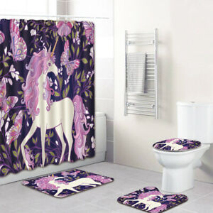 4-Pcs-Unicorn-Bathroom-Rug-Shower-Curtain-Skidproof-Toilet-Lid-Cover-Bath-mat