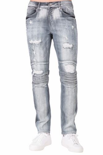 Level 7 Men/'s Premium Stretch Denim Moto Jeans Slim Tapered Fit Copper Wash