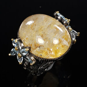 Ghost Quartz Ring Silver 925 Sterling FineArt Jewelry Size 9 /R131966