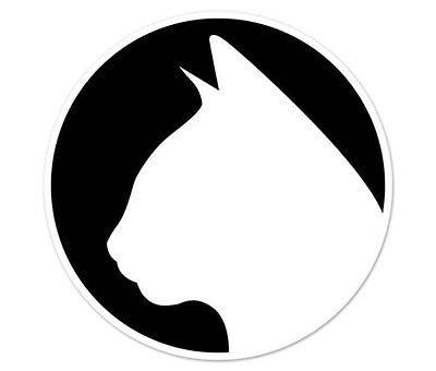 "Cat Silhouette Oval car window bumper sticker decal 5/"" x 3/"""
