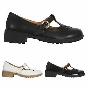 GIRLS KIDS WOMENS LOW HEEL MARY JANE T-BAR BUCKLE STRAP SHOES SIZE ... 5796184608