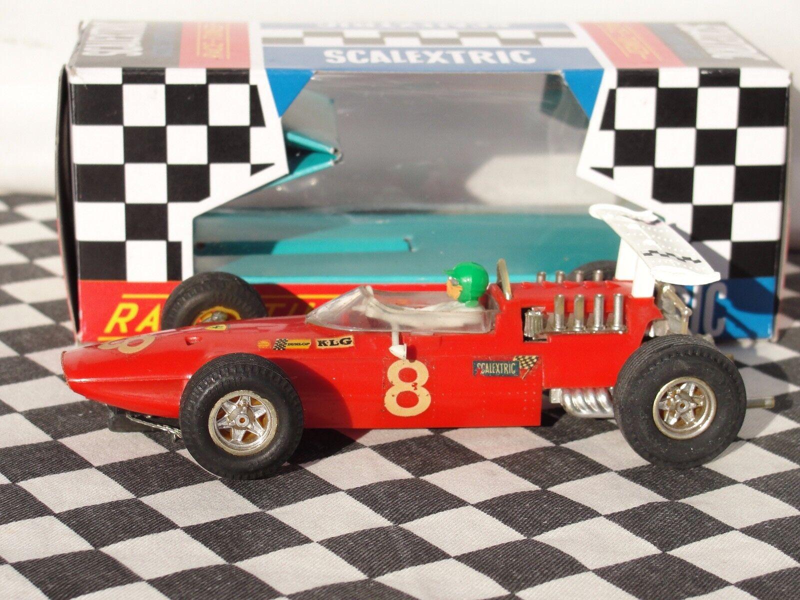 SCALEXTRIC 1960 s FERRARI 158 V8 röd C9 1.32 ANVÄNT BOXED