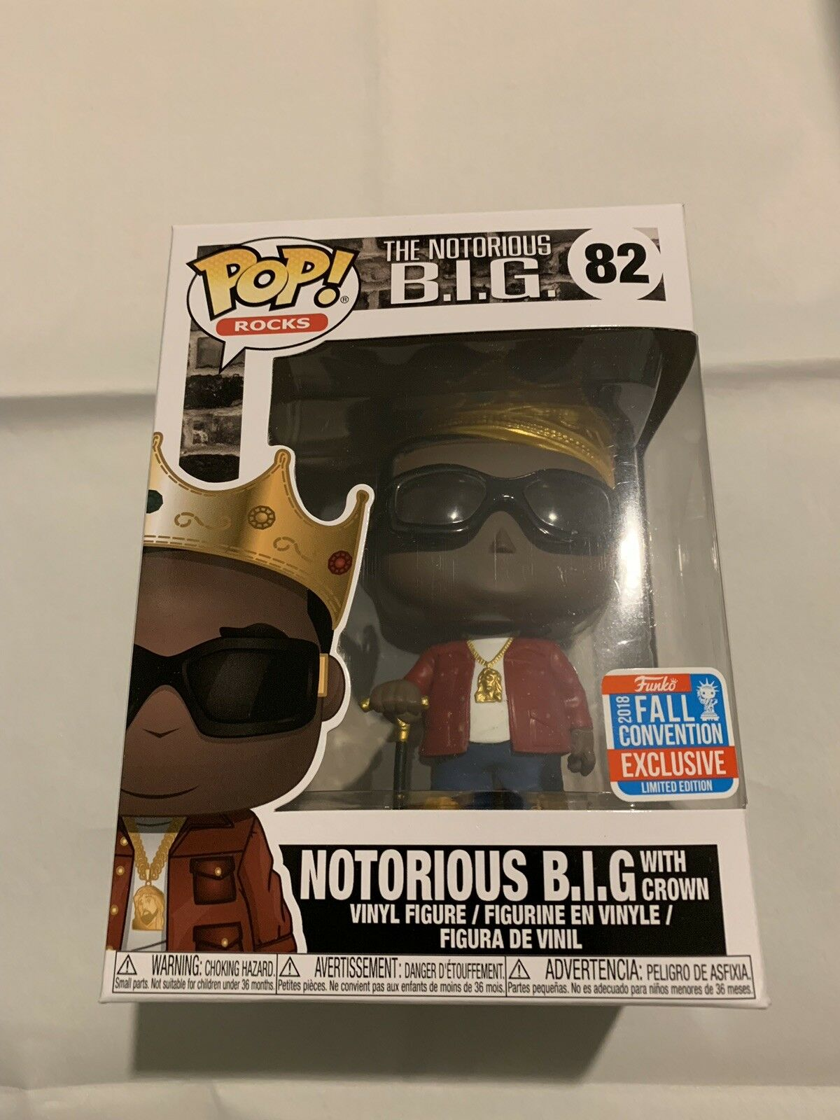 Funko POP  Notorious B.I.G With Crown rot Jacket Jacket Jacket - NYCC Exclusive 82 + Protector 0852cb