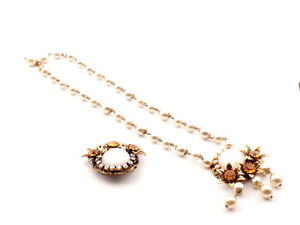 Vintage-Czech-floral-necklace-brooch-set-faux-pearl-beads-rhinestones-satin-cabs