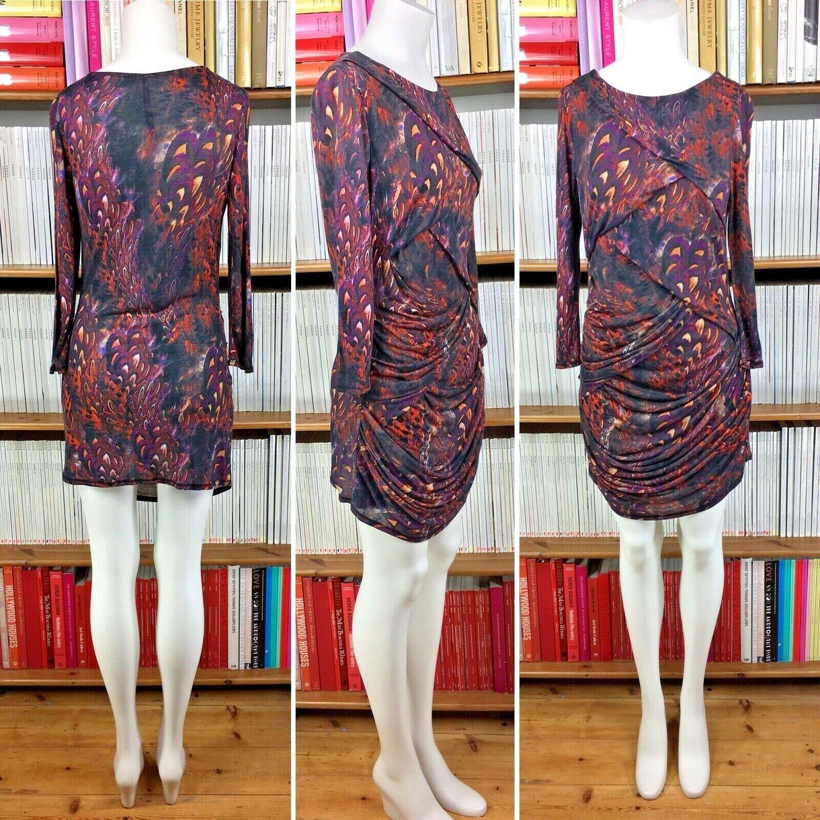 KAREN MILLEN dress jersey draped feather firebird print stretchy US 6