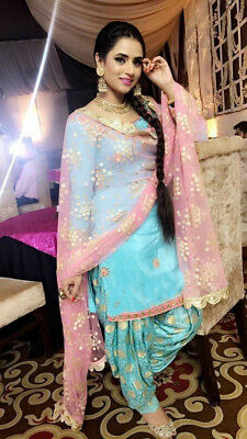 5fba9c7f80 punjabi patiala suit indian salwar kameez designer party wear hevy zari  dupatta | eBay