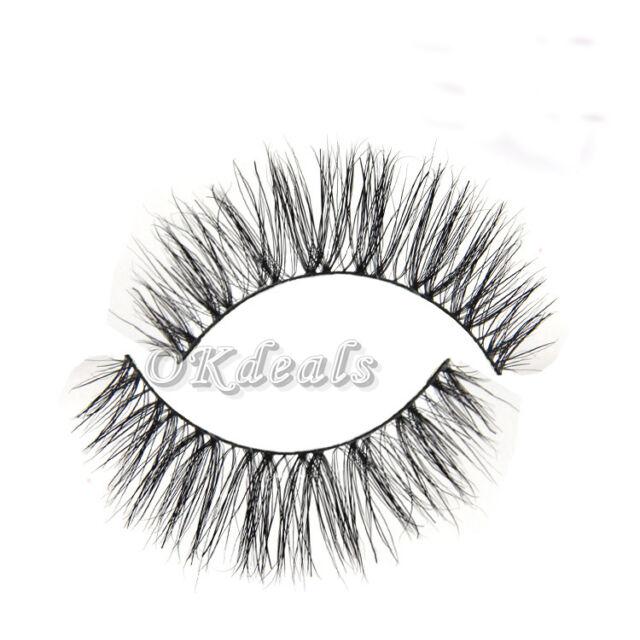 Fashion 1Pair Handmade Horse Hair Natural Thick Long Eye Lashes False Eyelashes