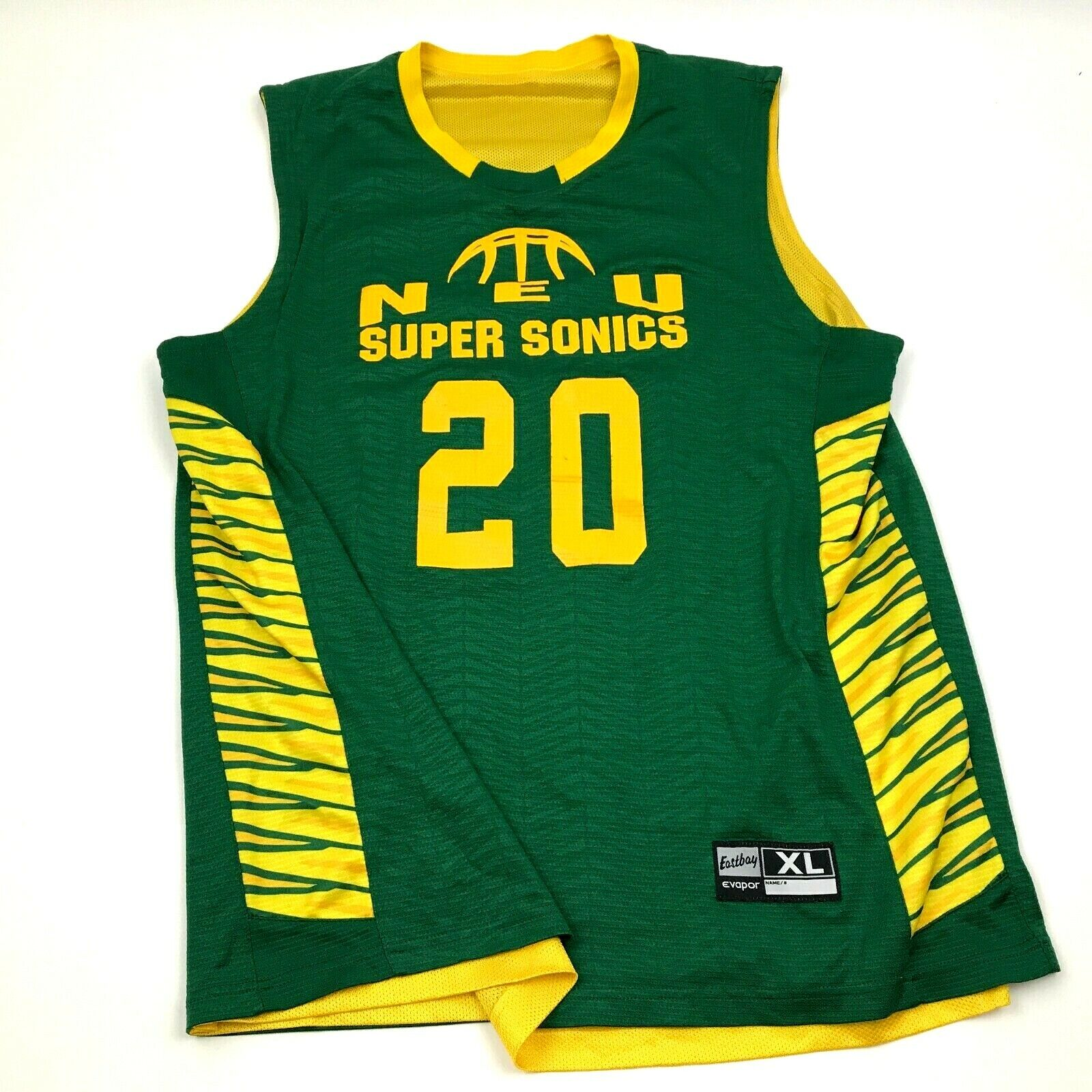 NEU Super Sonics Basketball Jersey Size Extra Large XL Green Yellow Shirt Tank
